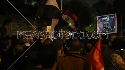Protest near the presidential palace against Morsi's constitutional declaration at night - December 2012