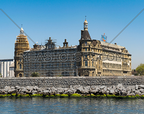 Istanbul, Turkey - April 26, 2017: Renovation works at Haydarpasha Railway Terminal, situated in the Bosphorus, Kadikoy, Istanbul, Turkey, built in 1909 and closed in 2013 due to the rehabilitation of the Marmaray line