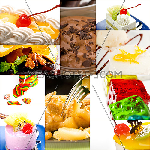 dessert cake and sweets collection collage bright mood