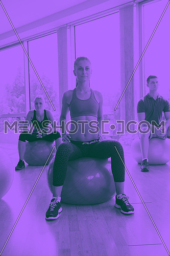 group of people exercise with balls on yoga class in fitness gym duo tone