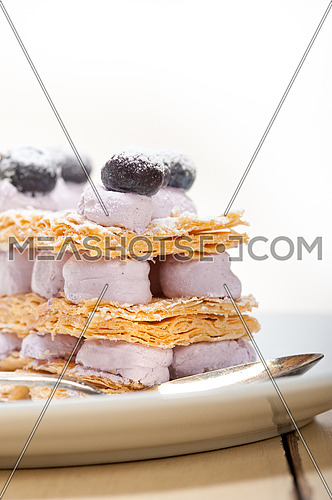 fresh baked napoleon blueberry and cream cake dessert