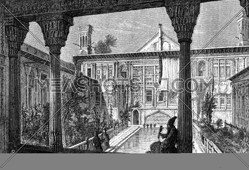 Courtyard of the palace of the French mission in Tehran in 1848, vintage engraved illustration. Magasin Pittoresque 1869.