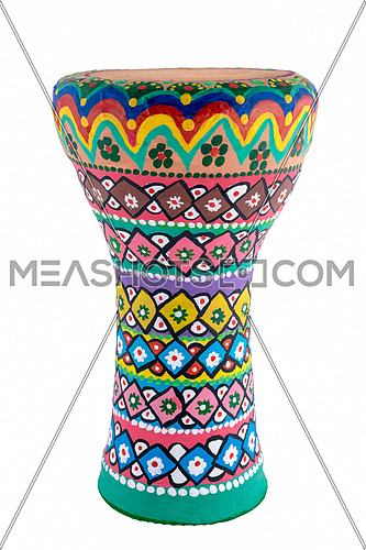 Front view of a colorful painted goblet drum (also chalice drum, tarabuka, darbuka, debuka, doumbek, dumbec, dumbeg, dumbelek, toumperleki, or tablah)