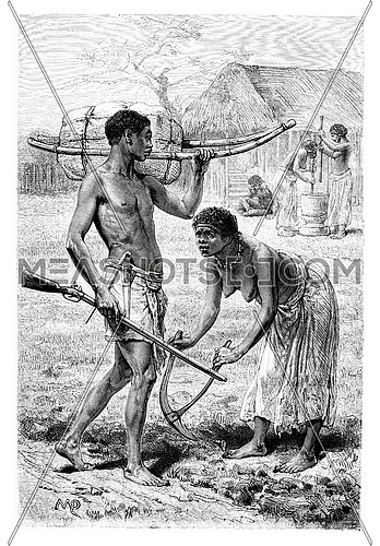 Man and Woman from Bie in Angola, Southern Africa, drawing by Maillart based on the English edition, vintage engraving. Le Tour du Monde, Travel Journal, 1881