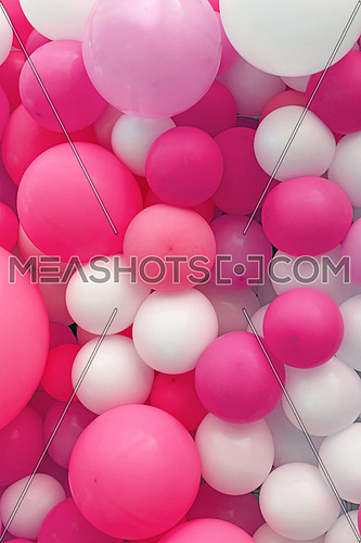 Close up festive background of purple pink and white air balloons of different sizes