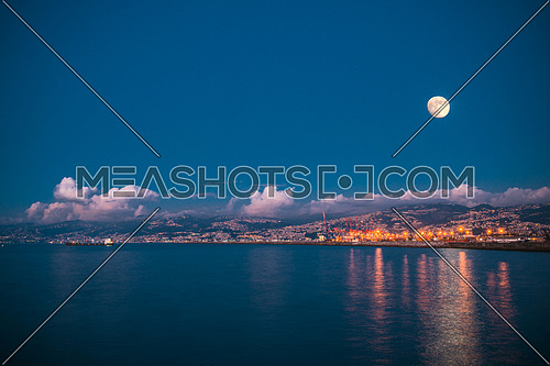 sea port Beirut lebanon with full moon