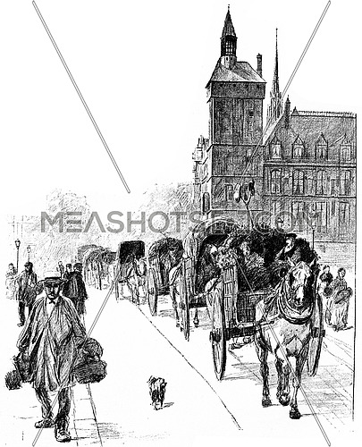 Arrivals from the suburbs, vintage engraved illustration. Paris - Auguste VITU – 1890.
