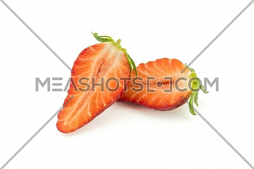 Ripe juicy strawberry fruit cut in half isolated on white background
