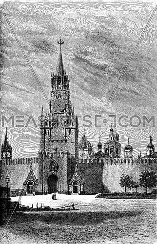 Resurrection Gate on the Red Square in Moscow, vintage engraved illustration. Le Tour du Monde, Travel Journal, (1872).