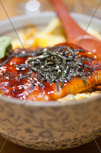 traditional Japanese ramen noodles with unagi eel on top
