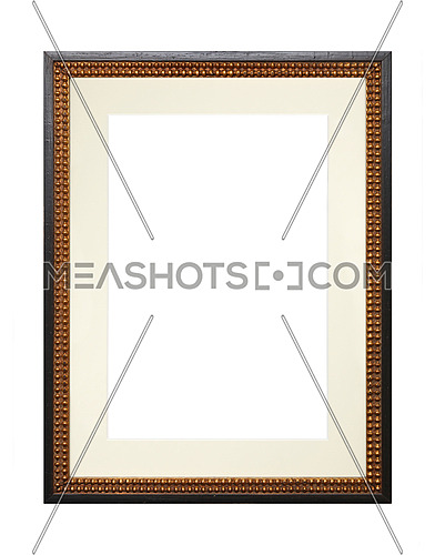 Vintage old wooden brown classic frame with golden inner edge and cardboard mat (passe partout mount) for picture or photo, isolated on white background, close up