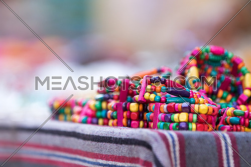 colourful Nubian bracelet on a table in the market