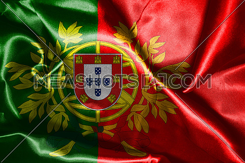 Portugal National Flag With Coat Of Arms Wawving In The Wind 3D illustration