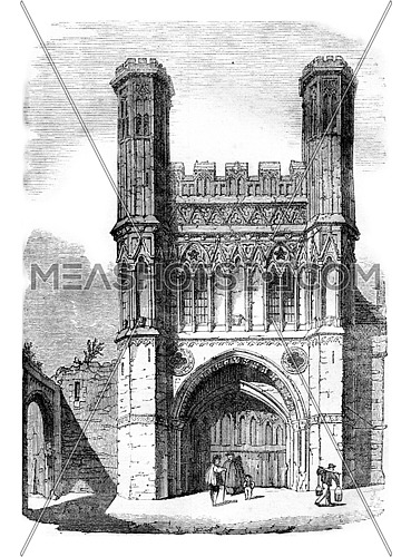 Gate of Saint Augustine of Canterbury Cathedral, vintage engraved illustration. Colorful History of England, 1837.