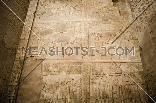 A hieroglyphic writings on the wall of Kom Ombo temple