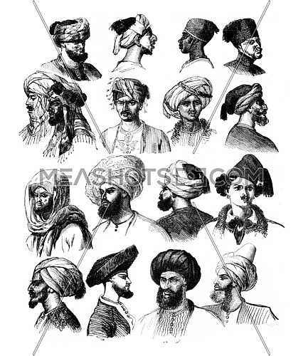 How to adjust the turbans, vintage engraved illustration. Magasin Pittoresque 1841.
