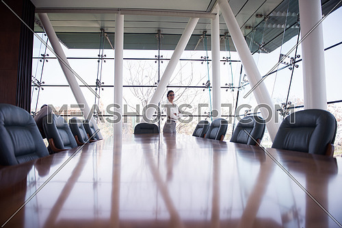 young businesswoman standing alone in modern conference room office