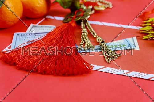 Happy Chinese New Year american dollars with traditional decorations on red background fabric with text and sign.