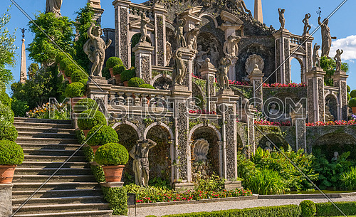 Pictured Isolabella island with its beautiful gardens and its wonderful baroque statues, Lake Maggiore, Stresa, Italy.