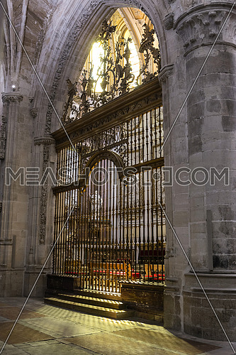 CUENCA, SPAIN - August 24, 2016: Inside the Cathedral of Cuenca, main grille of the Main Chapel, was conducted between the years 1,511 and 1,516, the work of rejero Juan French, which reflects the time of transition between the gothic and renaissance, Cuenca, Patrimony of the humanity, Spain