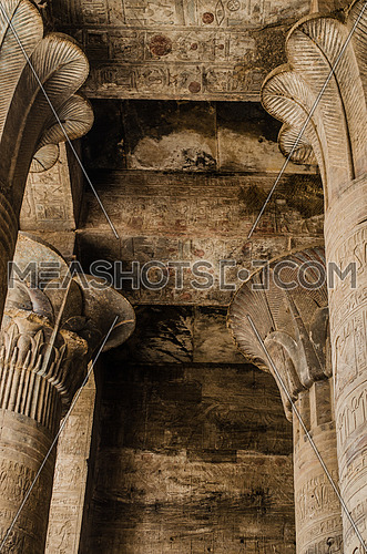 Papyrus columns of Edfu temple in Edfu, Egypt.