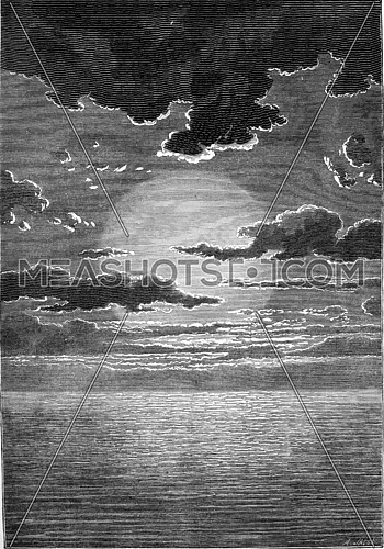 Under the immense age of the first sun, water, water everywhere, water always, vintage engraved illustration. Earth before man – 1886.