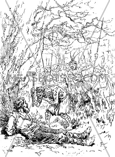 Narcissus Nicaise perilous adventures in the Congo. Nicaise beckoned with his head that he was ready to act, vintage engraved illustration. Journal des Voyage, Travel Journal, (1880-81).