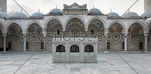 Facade of Suleymaniye Mosque, an Ottoman imperial mosque located on the Third Hill of Istanbul, Turkey, and the second largest mosque in the city. built in 1557