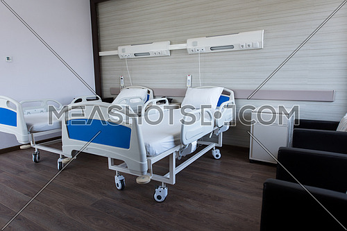 comfortable equipped hospital room with bed in modern clinic in the Middle East