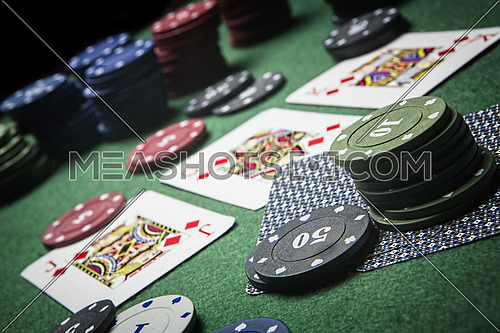 cards poker deck English, Poker game interesting with a possible winning combination on green background