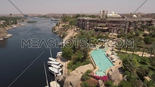 flying over Old Cataract hotel in Aswan