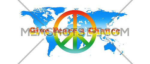 World Map Peace Colors With Text Isolated on White Background 3D illustration