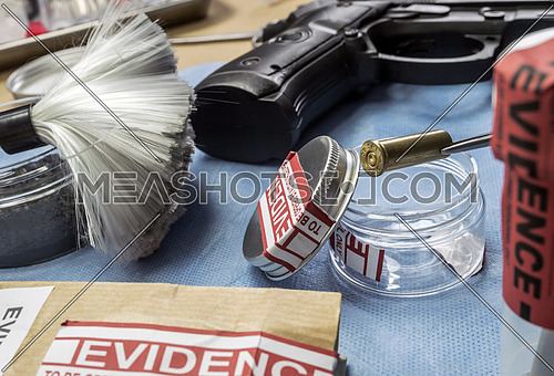 Criminalistic Laboratory, Bullet shell analysis, conceptual image