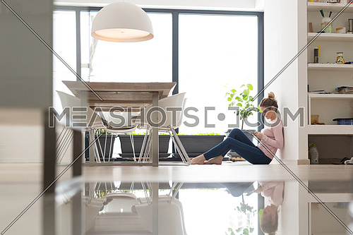 beautiful young woman using tablet computer on the floor at home