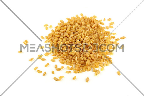 Close up heap of yellow traditional bulgur (bulghur, burghul) big grains of durum wheat, isolated on white background, close up, high angle view