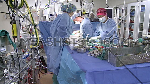Pan Right long shot of operating room while medical team performing surgery