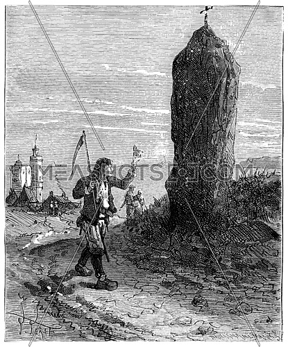 The Tour de France a small Parisian, Menhirs of Brittany, vintage engraved illustration. Journal des Voyage, Travel Journal, (1880-81).