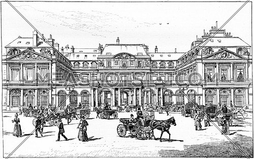 Square of royal palace, vintage engraved illustration. Paris - Auguste VITU – 1890.