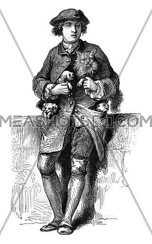 The Merchant of dogs and cats, in 1774, vintage engraved illustration. Magasin Pittoresque 1869.