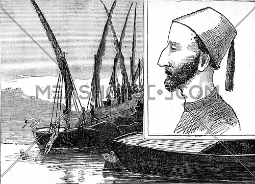 Evening bath. The mudir of Dongola. From Travel Diaries, vintage engraving, 1884-85.
