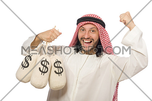 Arab businessman with sacks of money