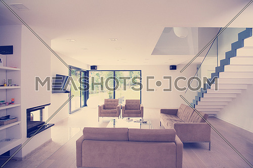 Architecture, Interior, modern apartment, wide living room