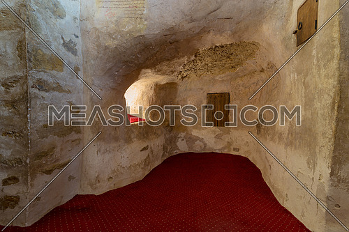 Cairo, Egypt - March 24 2018: Cave at the Church of St. Paul & St. Mercurius, Monastery of Saint Paul the Anchorite (aka Monastery of the Tigers), Egypt