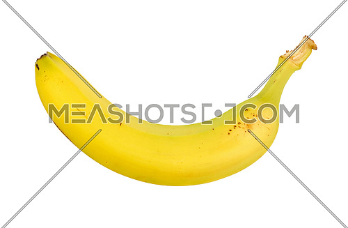 One fresh ripe yellow banana isolated on white background, close up, elevated top view