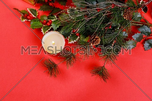 Christmas composition for new year celebration on red background