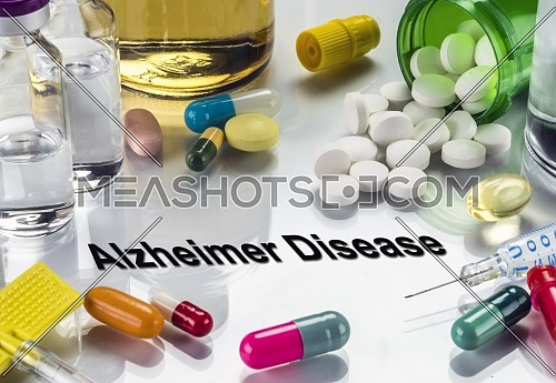 Medical diagnosis alzheimer disease, conceptual image, horizontal composition