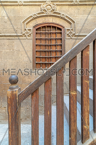 Staircase with wooden balustrade leading to Zeinab Khatoun historic house, Darb Al-Ahmar district, Old Cairo, Egypt