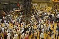 Devotees throw turmeric powder as an offering to Khandoba, 'God of Jejuri', on 'Somvati Amavasya' at the Jejuri temple, Pune , Maharashtra, India,
