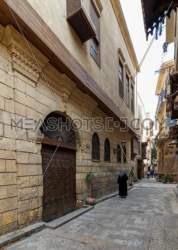 Cairo, Egypt- November 19 2016: Darb Asfour Lane with facade of Bayt Al-Suhaymi old historic house located in Gamalia district, Medieval Cairo