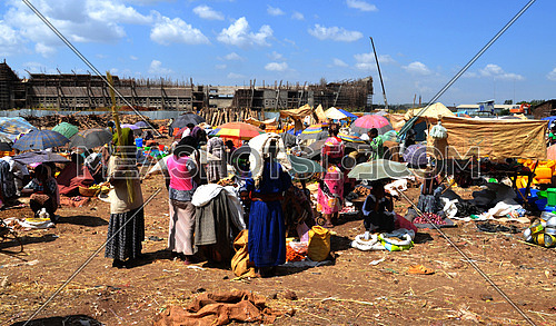 an outdoor market in Ethiopia